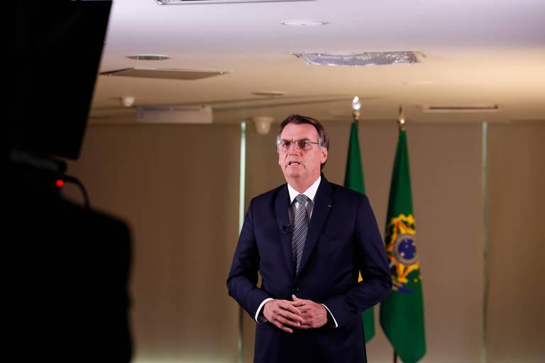 O presidente Jair Bolsonaro durante pronunciamento na TV sobre a Amazônia