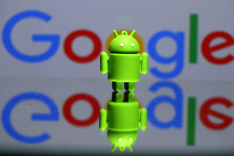 Logo do Google e Bugdroid, mascote do sistema operacional Android; EUA questionam monopólio de grandes empresas de tecnologia
