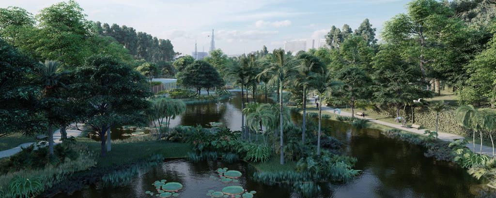 Vista de lago similar ao Jardim Botânico que, de acordo com projeto do artista plástico Pazé, seria instalado nos cemitérios