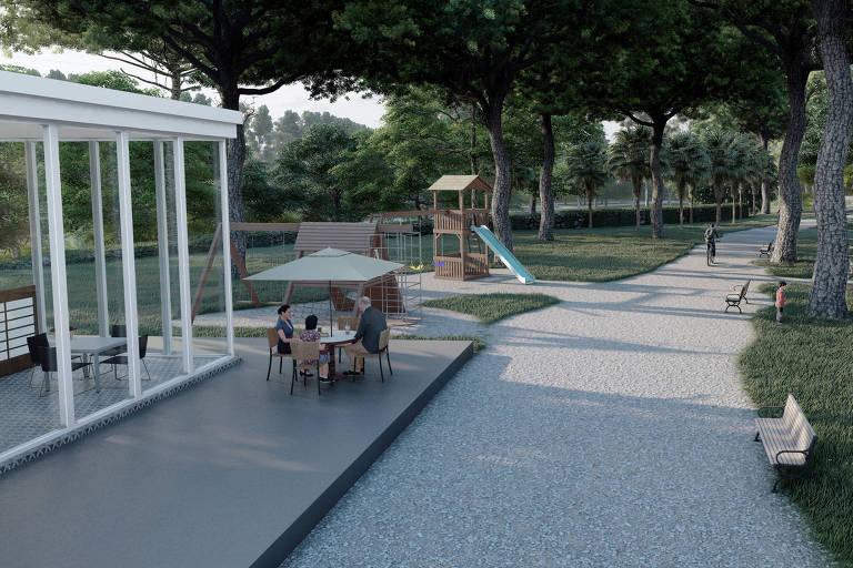 Vista de parque infantil em projeto de cemitério/parque