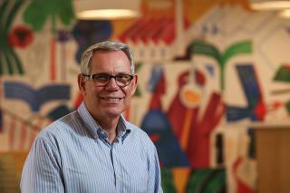 O presidente da Suzano, Walter Schalka, na sede da empresa em São Paulo