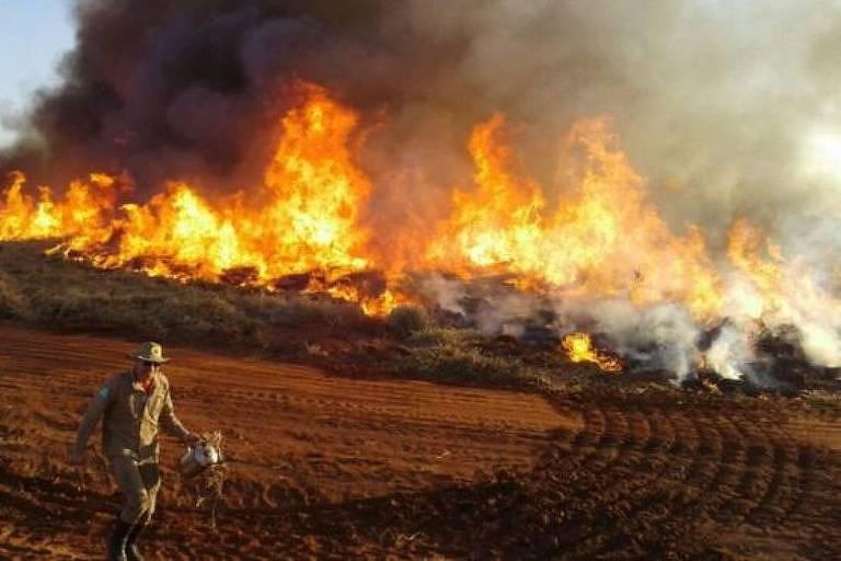 As chamas ocupam a maior parte da imagem. Um soldado do exército corre em direção ao fogo.