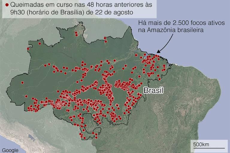 Mais de 2.500 pontos vermelhos que indicam focos de queimadas na região Norte