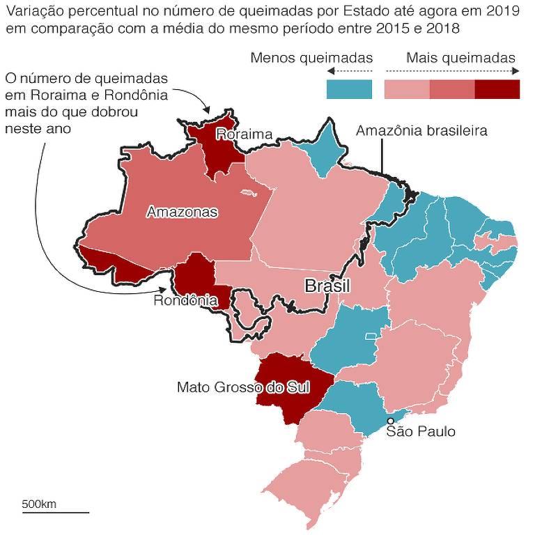Imagem de mapa do Brasil mostra, por estado, o aumento e diminuição de queimadas.