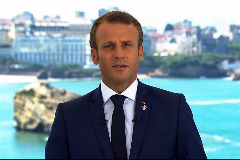 O presidente da França, Emmanuel Macron, em pronunciamento