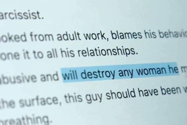"""O texto em inglês descrever as atitudes violentas de um homem que """"vai destruir"""" qualquer mulher que encontrar."""