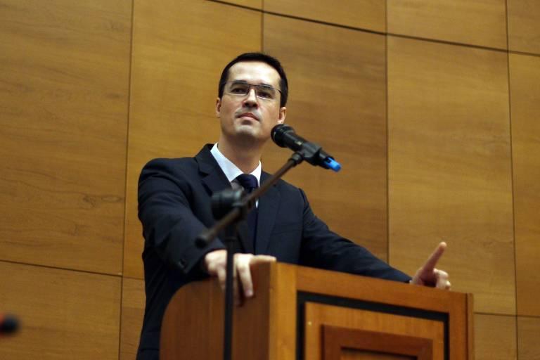 Deltan Dallagnol durante palestra no 8ª Reunião do Fórum Permanente de Segurança Pública e Execução Penal, em 2017, no Rio de Janeiro
