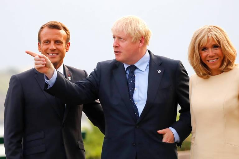 Recebido por Macron e a primeira-dama Brigitte em Biarritz, Boris Johnson fez críticas à ameaça de suspensão do acordo entre UE e Mercosul