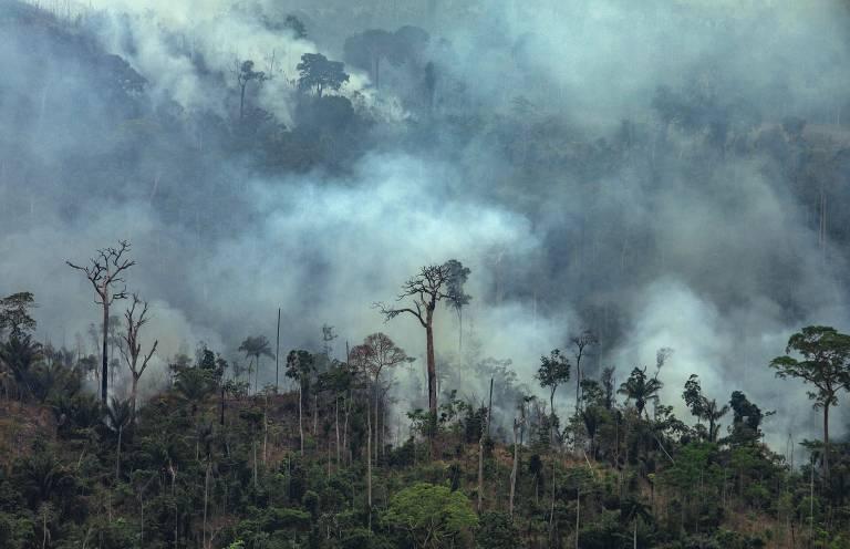 Imagem divulgada pelo Greenpeace mostra fumaça de queimadas na floresta amazônica na região do município de Itaituba, no Pará