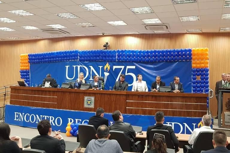 Entusiastas e futuros integrantes da UDN (União Democrática Nacional) em primeiro encontro nacional do partido desde o início do movimento de retomada da sigla, extinta em 1965