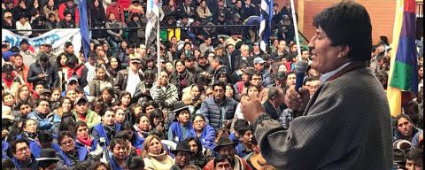 ORURO, BOLÍVIA - 21/8/2019 - O presidente boliviano Evo Morales durante discurso em um Ginásio. (Foto: Diego Lisboa/Folhapress