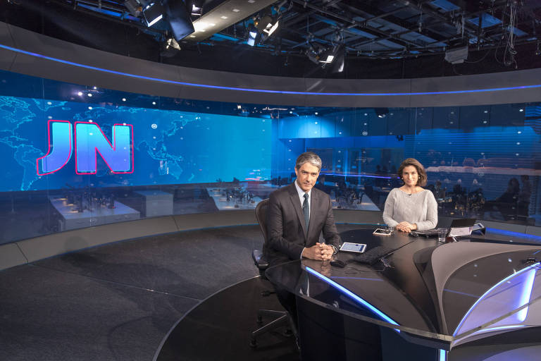 William Bonner e Renata Vasconcellos no novo estúdio do 'Jornal Nacional'