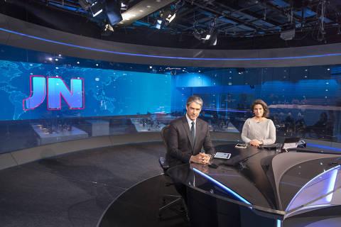 William Bonner e Renata Vasconcellos no novo estúdio do 'Jornal Nacional'