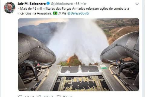 Ministério usa foto velha para divulgar ação na Amazônia, e Bolsonaro compartilha