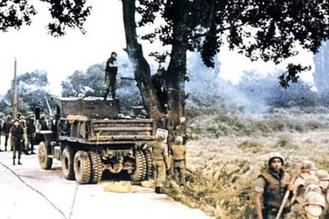 Centenas de tropas foram mobilizadas para dar apoio a um grupo de engenheiros para podar a árvore (Divulgação/Wayne Johnson)
