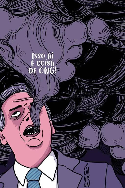 Ilustrações sobre queimadas na Amazônia