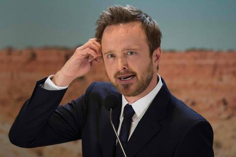 (FILES) In this file photo taken on November 10, 2015 US actor Aaron Paul, who played the character Jesse Pinkman in the AMC series