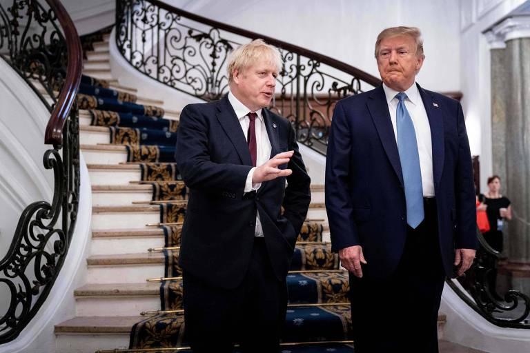 O presidente dos EUA, Donald Trump, e o primeiro-ministro do Reino Unido, Boris Johnson, em Biarritz
