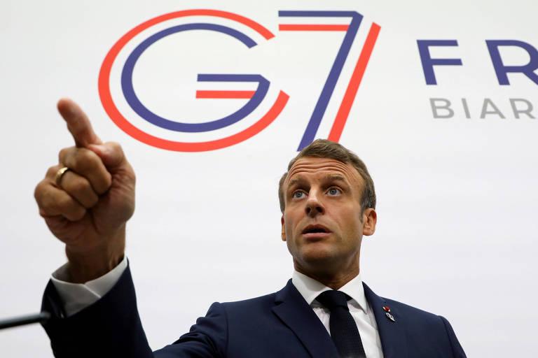 O presidente francês, Emmanuel Macron, que rivalizou com Bolsonaro sobre a preservação da Amazônia