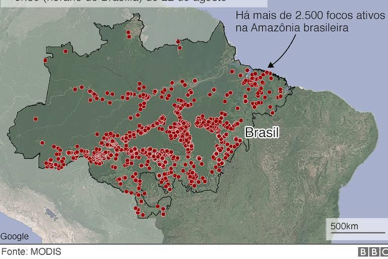 Queimadas em curso nas 48 horas anteriores às 9h30 (horário de Brasília) de 22 de agosto