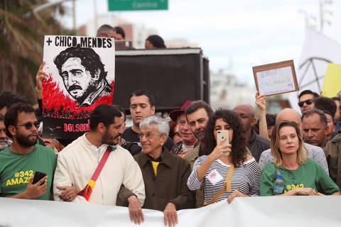 No Rio, protesto contra queimadas reúne artistas e políticos fluminenses
