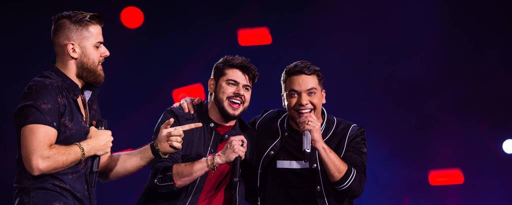 Wesley Safadão com a dupla sertaneja Zé Neto e Cristiano na gravação de DVD, no Rio