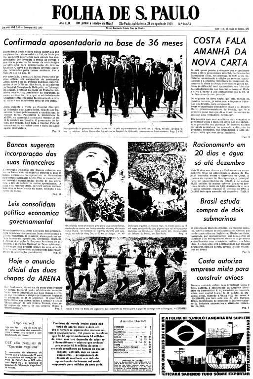 Primeira página da Folha de S.Paulo de 28 de agosto de 1969