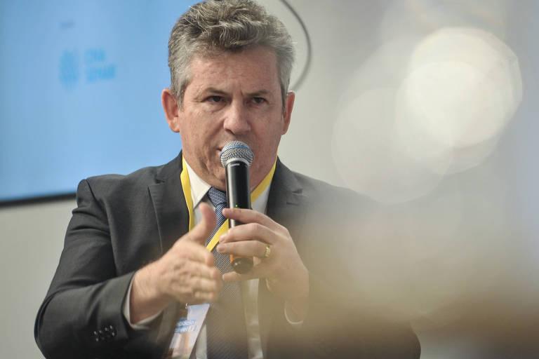Mauro Mendes, governador do Mato Grosso no Fórum Agronegócio Sustentável, na Folha