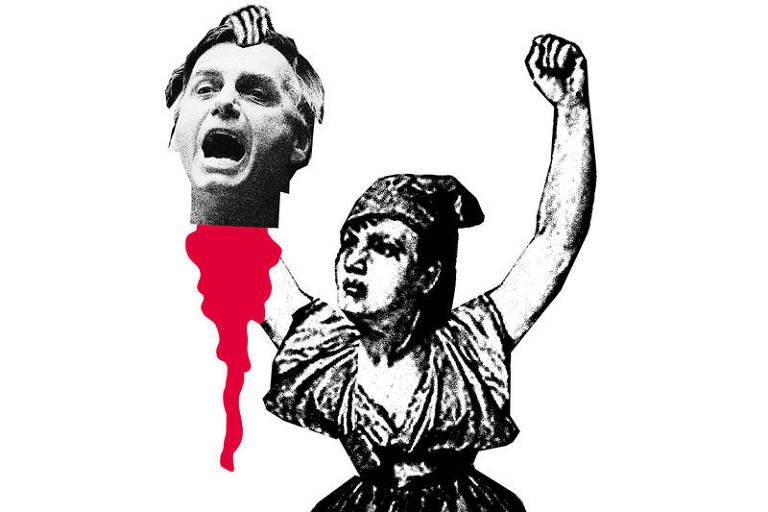 Ilustração de uma mulher segurando cabeça decaptada de Jair Bolsonaro sangrando