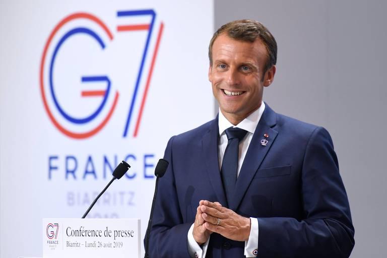 O presidente francês Emmanuel Macron em conferência na cúpula do G7, em Biarritz