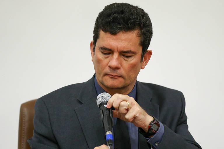 O ministro Sergio Moro durante evento sobre combate à corrupção, em Brasília