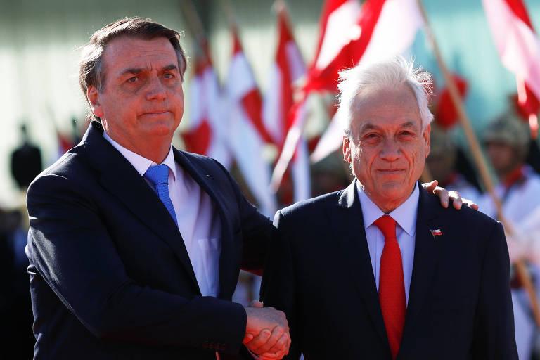 Jair Bolsonaro recebe o presidente chileno, Sebastian Piñera, em Brasília