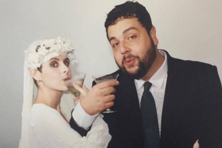 Fernanda Young e Alexandre Machado no dia do casamento