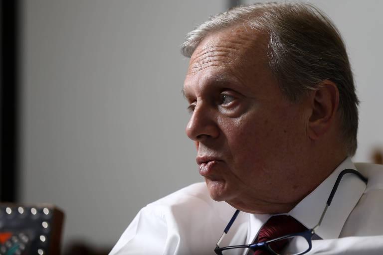 O senador Tasso Jereissati (PSDB-CE), relator da reforma da previdência no Senado, durante entrevista à Folha