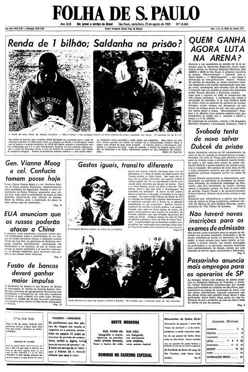 Primeira página da Folha de S.Paulo de 29 de agosto de 1969