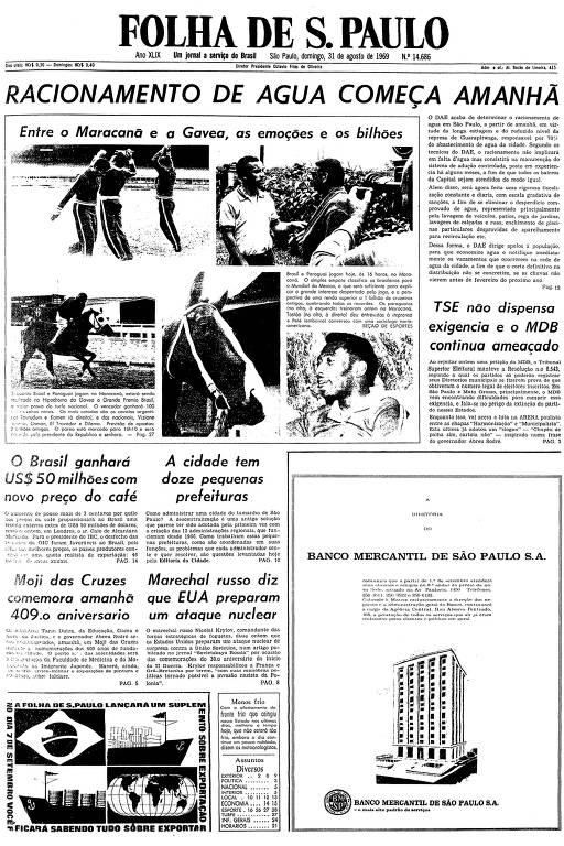Primeira página da Folha de S.Paulo de 31 de agosto de 1969