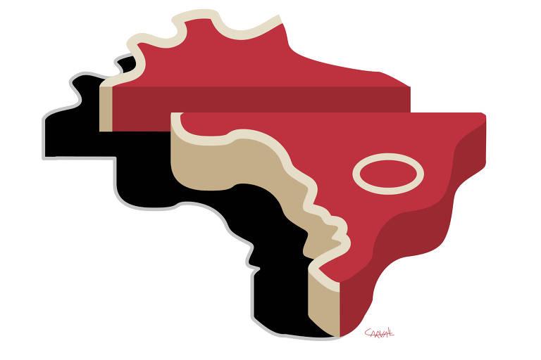 Mapa do Brasil que se assemelha a um bife