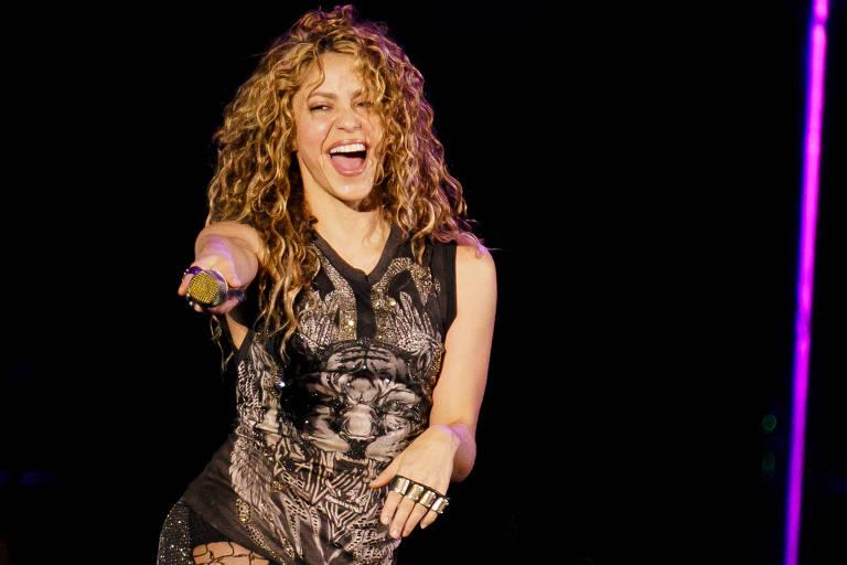 Shakira durante apresentação em São Paulo