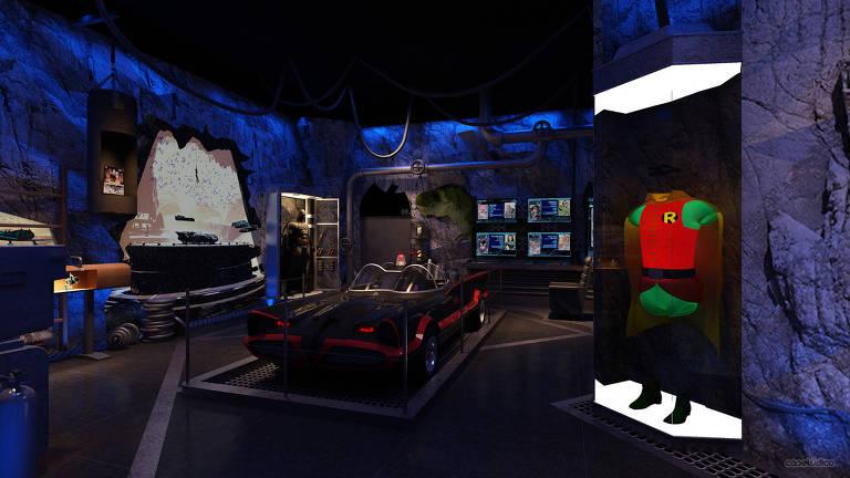 Cenário da exposição 'Batman 80', no Memorial da América Latina