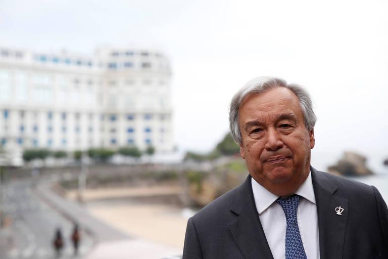O secretário-geral da ONU, António Guterres, durante a cúpula do G7 em Biarritz, na França