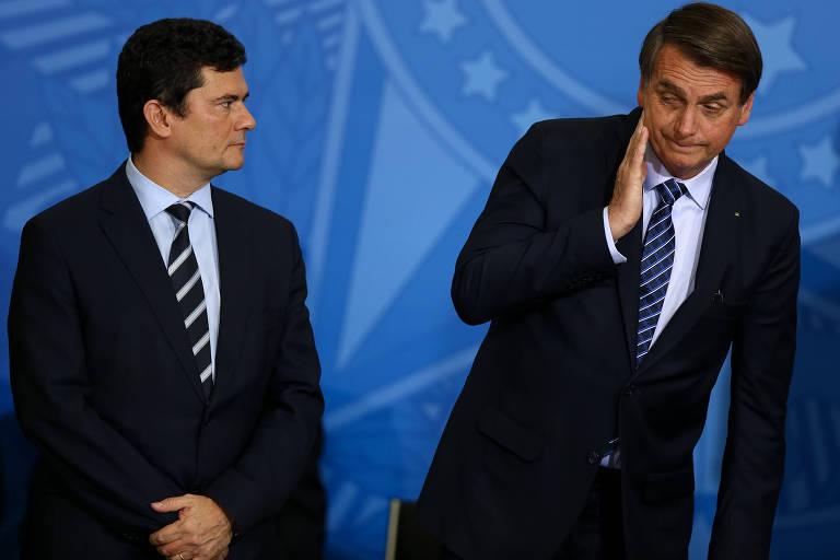 O ministro Sérgio Moro (Justiça) e o presidente Jair Bolsonaro (PSL)