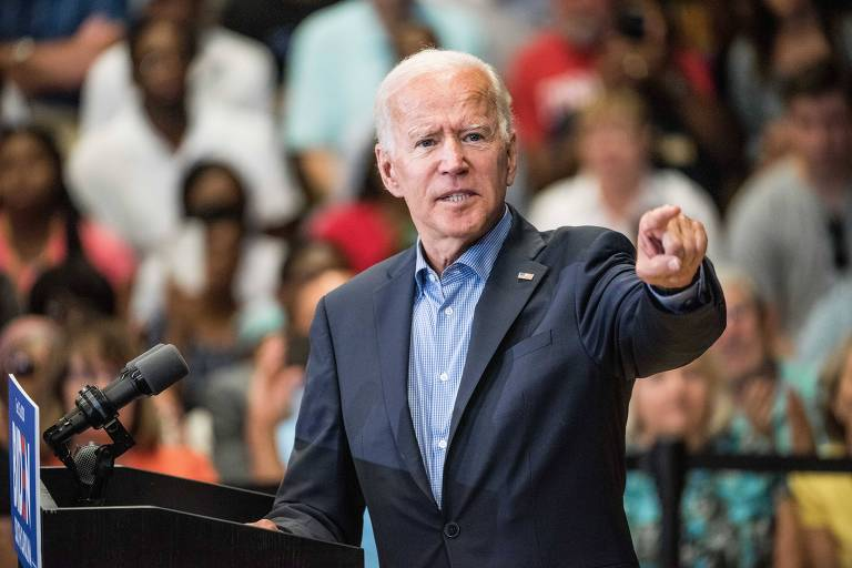 O ex-vice presidente Joe Biden, que disputa a indicação democrata, durante evento na Carolina do Sul