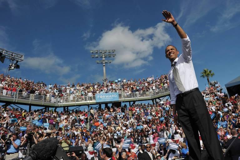 Barack Obama durante discurso de campanha em clube de tênis de Delray Beach em 2012