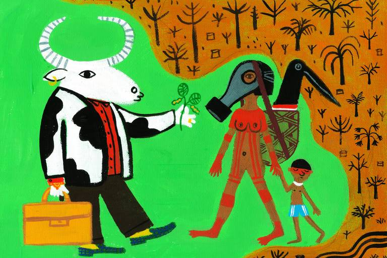 Ilustração de Mariana Massarani para o projeto Amazônia Chama