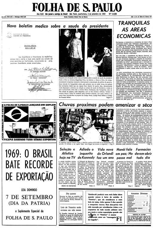 Primeira página da Folha de S.Paulo de 3 de setembro de 1969