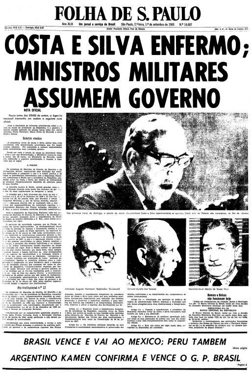 Primeira página da Folha de S.Paulo de 1º de setembro de 1969