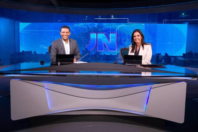 Márcio Bonfim e Cristina Ranzolin no Jornal Nacional