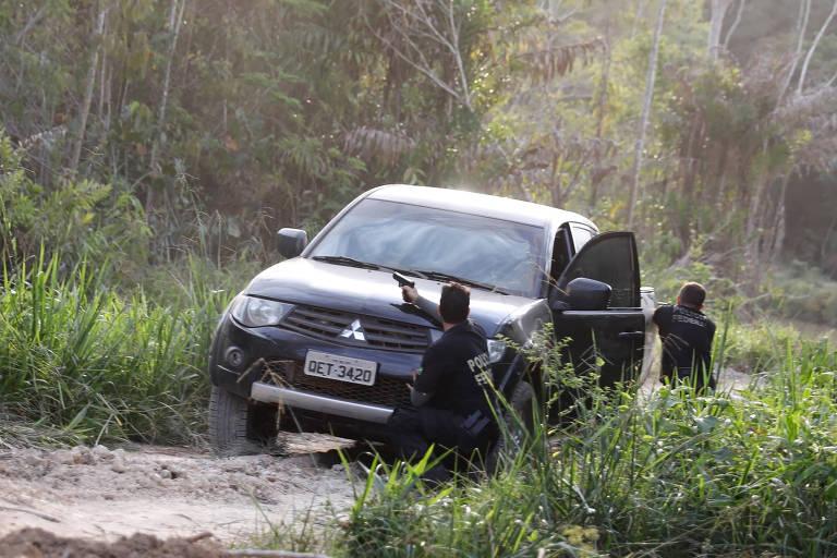 Policiais federais atiram em suspeitos de garimpo durante operação conjunta com o Ibama em Altamira, no Pará, em 30 de agosto de 2019.