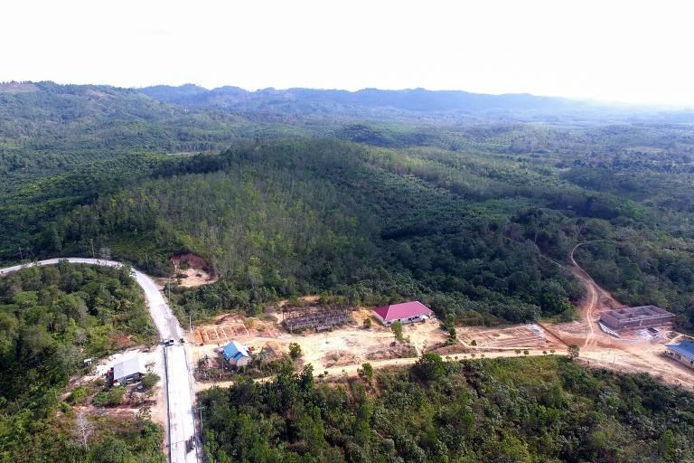 Área na Ilha de Bornéu onde o presidente da Indonésia, Joko Widodo, anunciou que construirá a nova sede do país