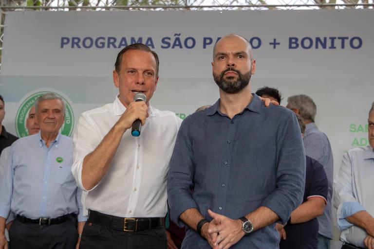 O governador João Doria (PSDB) e o prefeito Bruno Covas (PSDB) durante entrega de praça em São Paulo
